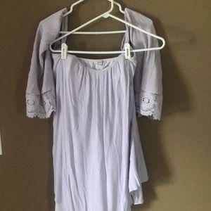 Flowy Lavender Dress, strapless w/ mid Lace sleeve
